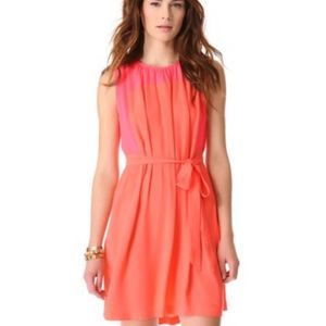 Madewell Bungalow Neon Coral Pink Pleated Dress M
